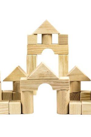 Cuburile micului constructor, jucarie din lemn natur