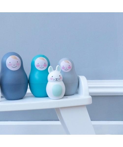 Jucării multisenzoriale Nesting Babies - Blue