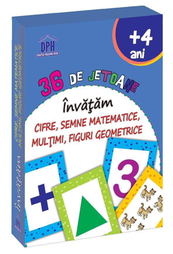36 de Jetoane - Invatam - Cifre, Semne Matematice, Multimi, Figuri geometrice