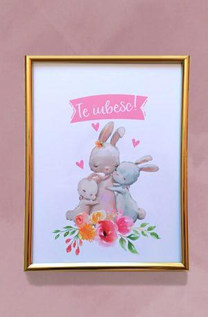 Print inramat – Te iubesc! (mama si puii)