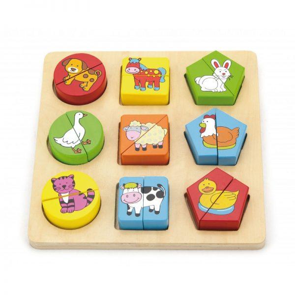 Puzzle din cuburi din lemn cu animale
