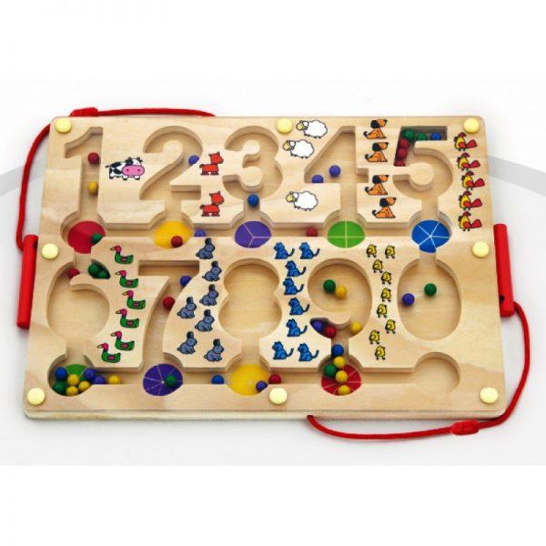 Puzzle magnetic cu bile in labirint