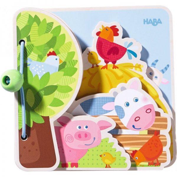 Carte din lemn pentru bebelusi - Prietenii de la ferma