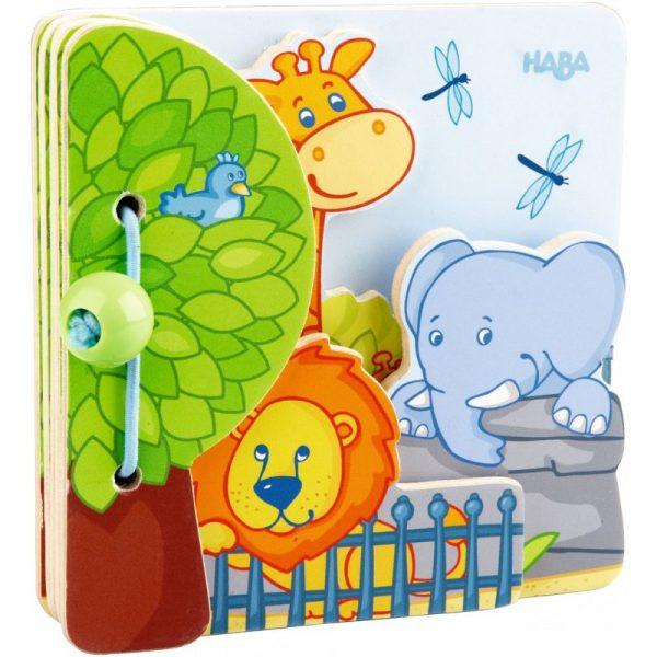 Carte din lemn pentru bebelusi - Animale de la zoo