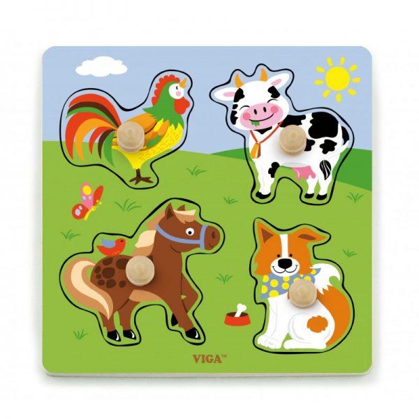 Puzzle cu manere - animale de la ferma