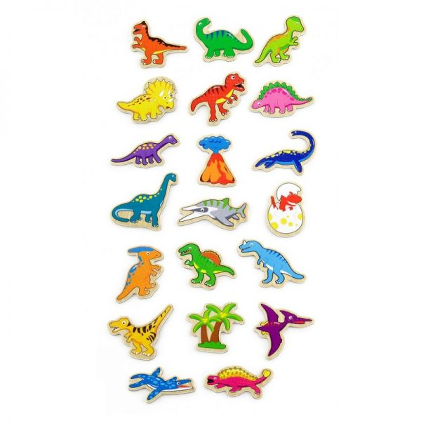 Set dinozauri magnetici din lemn 20 buc, Viga