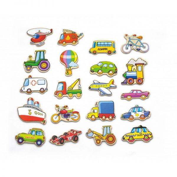 Set vehicule magnetice din lemn