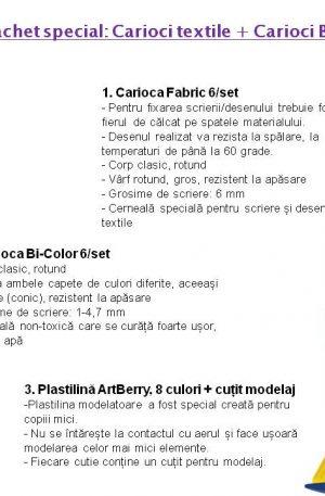Pachet special: Carioci textile + Carioci Bi-color + Plastilina
