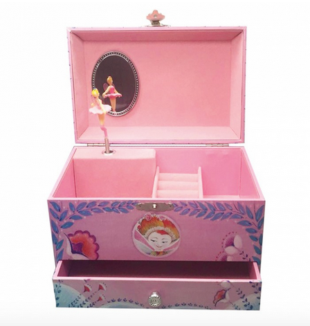 Cutiuta muzicala pentru bijuterii cu suport inele si sertar 'Chloe'