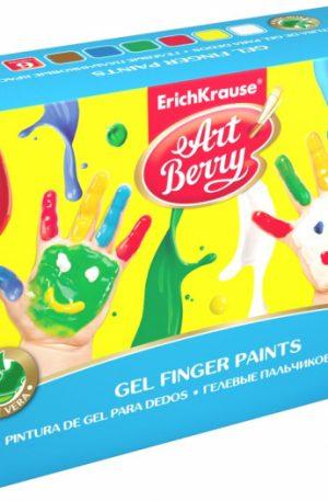 Set Acuarele ArtBerry Finger Paints cu Aloe Vera, 6x100ml