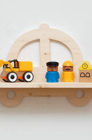 Etajera din lemn masina de politie