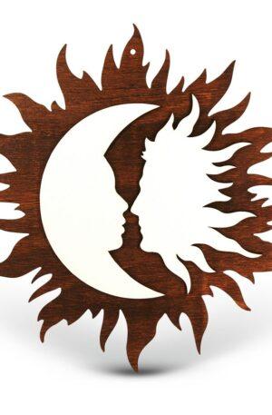Soarele si Luna Decoratiune din Lemn